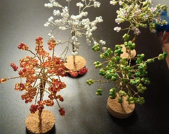 BEADS 4 seasons tree. Four miniature trees. HAND MADE. . Fall, winter, spring, summer. 7-8 cm in height. Gift