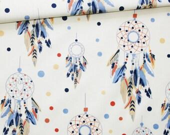 Tissu attrape-rêves, 100% coton imprimé 50 x 160 cm, capteurs de rêves bleu, pêche, orange sur fond écru
