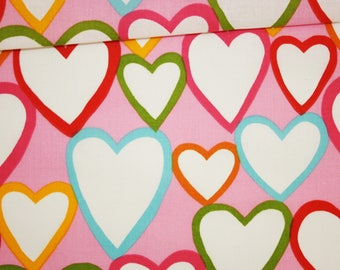 Hearts, 100% cotton fabric printed 50 x 160 cm hearts on pink background