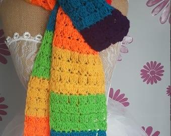 rainbow scarf . pride . festivals . summer . handmade . crochet