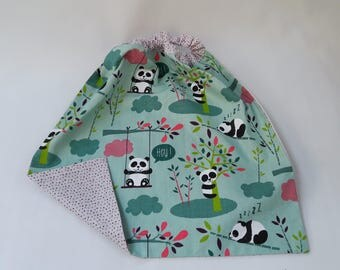 "Table/canteen towel - elasticated, lined and reversible ""model panda 1"""