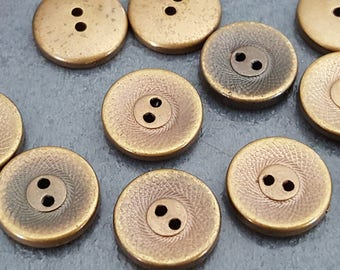 20 buttons 11 mm antique bronze color, acrylic buttons, knitting and sewing button