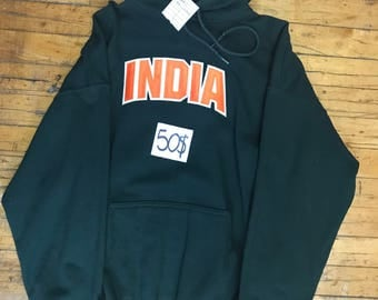Blue Hoodie Pullover printed with India text