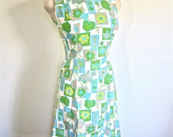 S 60s Mod Print Sheath Dress Blue Green Floral Daisy Cotton Linen Sleeveless Sundress Graphic Print Scooter Girl Small