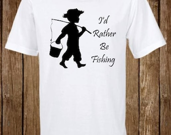I'd Rather be Fishing Shirt// Fly Fishing // Bait Casting // Men's and Women's // Big Bass Fishing // Custom shirt // made to order