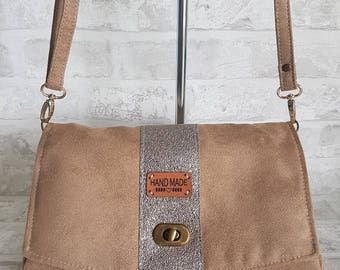 Chic brown suede and faux leather shoulder bag bronze glitter