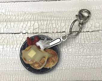 Pancakes with Strawberries Polymer Clay Charm | Knitting Accessory | Crochet Accessory | Miniature Food | Progress Keeper | Knitting Marker