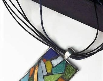 Necklace mosaic multicolored rainbow collection 'as a table' Silver rectangular pendant