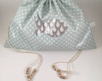 Pool bag for children in waterproof laminated cotton DrawString bag