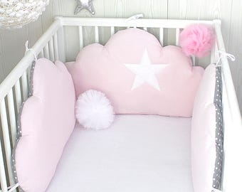 Baby cot bumpers for 60cm wide, 3 cloud cushions, pale pink, and grey with white spots