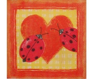 Set of 3 ANI006 ladybugs on a red heart paper napkins