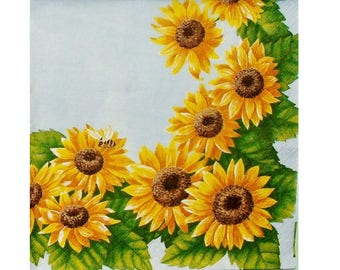 Set of 3 PLA043 around sunflowers paper napkins