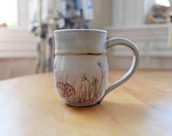 Hand-thrown Stoneware Ceramic Mug   Original Design   Botanical   Kangaroo Rat