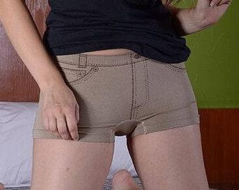 Beige Jean Printed Boy Shorts-Booty Shorts-Short Shorts-Women's Boxers