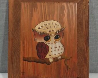 Vintage Handpainted Owl on Wood