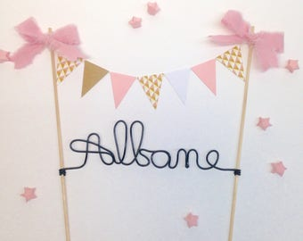 Pretty cake topper, customizable on demand, ideal for christening, wedding, birthday,... size 21 by 25cm