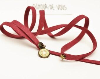 """Cordon porte-clés fantaisie """"Violette & son cabochon""""avec ruban fin en coton violet et perle bronze"""