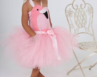 Girl Flamingo costume tutu dress pink tulle. Birthday gift.
