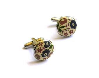 fabric cufflinks liberty Fairford E hand-made in France