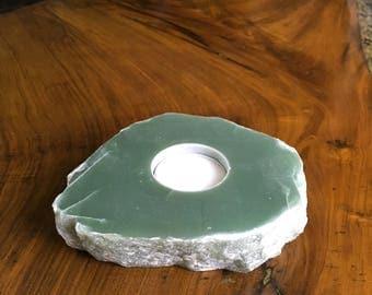 Green Aventurine Tealight Holder, Birthday, Housewarming, Valentines, Mothers Day, Present, Gift
