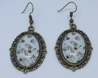 Bronze metal cabochon earrings