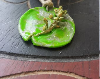 "Natural flower necklace. ""The Earth has music for those who listen"". Material - polymer clay. Size - 5x5cm /all sizes/"