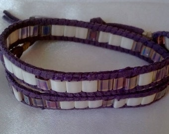 Purple and white suede wrap bracelet