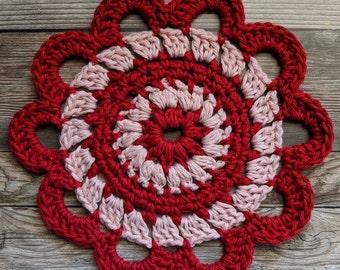 Lovely Lace Mandala, Crochet Mandala, Mandala, Crochet Doily, Doily, Fiber Art, Valentine Gift, Red Mandala, Gift For Her
