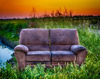 A Lonely Loveseat at Sunset Next to A Ditch, Loveseat Photo Download, Digital Photography Download, Sunset Photos, Sunset Photos Download