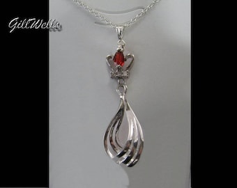 """Necklace """"Silver on Ruby Crown braid"""""""