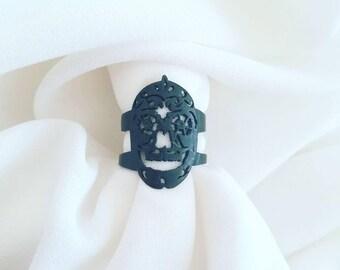 Sugar skull ring, 925 sterling silver, calavera ring, skull ring, artisan jewelry, boho jewelry, Day of the Dead, flower skull ring, floral