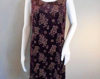 90s Burgundy Velvet and Floral Dress Criss Cross back straps Size 10-12