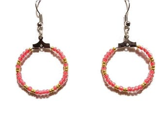 Clear Red and gold seed beads earrings