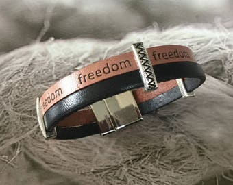 "Gift for man mixed light brown leather ""freedom"" and Black Leather Bracelet"