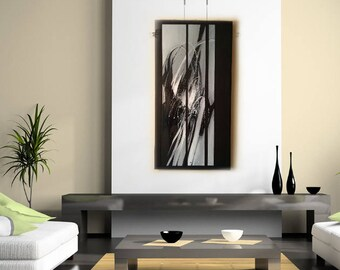"""abstract art acrylic painting """"Symphony in black and white"""""""