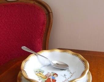 Sous tasse et bol pour enfant en porcelaine de Limoges / Vintage Porcelain bowl and Saucer from Limoges France