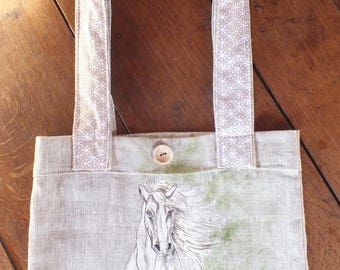 painted linen tote bag: beautiful galloping horse.