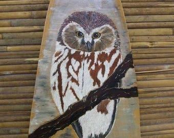 animal painting: on wood - OWL
