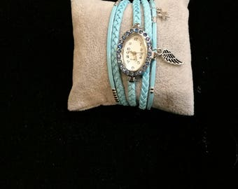 Sky blue multi strand wristwatch