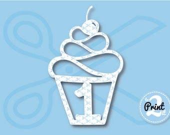 1st Birthday SVG, Birthday Cupcake SVG, Happy Birthday SVG, Cherry svg cut files, cupcake birthday svg