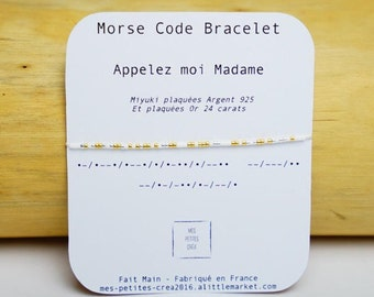 """Morse Code Bracelet """"Call me Madam"""" wedding"""