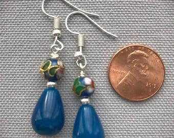Teal Glass and Cloisonne Bead Earrings