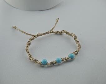 MACRAME BRACELET blue beads and metal slide