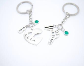 Friendship keychain, best friend keychain, broken heart jewelry, keyring set, two peas in a pod, matching keyrings, set friend keychains