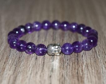 Amethyst Bracelet, Buddha Bracelet, Amethyst Beaded Bracelet, Chakra Bracelet, bracelet homme,  best friend bracelet, Gemstone Bracelet 8mm