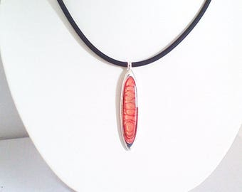 Red and orange, light collection, Oval Pendant Necklace
