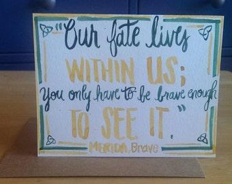 Brave Quotation Handlettered Card