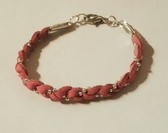 Kids braided bracelet with pink suede and chain silver ball - kids jewelry - girl-