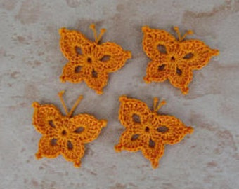 orange crochet set of 4 butterflies