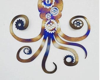 Steam Punk Octopus - Gears- CNC Plasma Cut- Metal- Vintage-